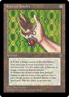 Jeweled Amulet  , : Put a charge counter on Jeweled Amulet. Note the type of mana spent to pay this activation cost. Activate this ability only if there are no charge counters on Jeweled Amulet., Remove a charge counter from Jeweled Amulet: Add one mana of Jeweled Amulet