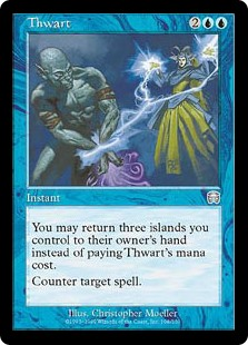 Thwart  You may return three Islands you control to their owner's hand rather than pay this spell's mana cost.Counter target spell.