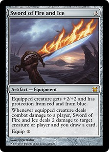 Sword of Fire and Ice  Equipped creature gets +2/+2 and has protection from red and from blue.Whenever equipped creature deals combat damage to a player, Sword of Fire and Ice deals 2 damage to any target and you draw a card.Equip