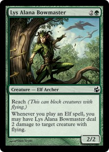 Lys Alana Bowmaster  Reach (This creature can block creatures with flying.)Whenever you cast an Elf spell, you may have Lys Alana Bowmaster deal 2 damage to target creature with flying.