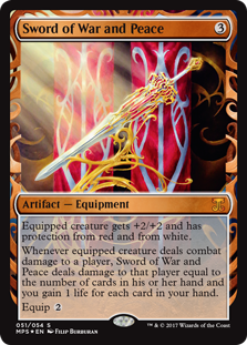 Sword of War and Peace  Equipped creature gets +2/+2 and has protection from red and from white.Whenever equipped creature deals combat damage to a player, Sword of War and Peace deals damage to that player equal to the number of cards in their hand and you gain 1 life for each