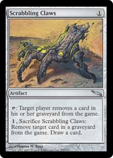 Scrabbling Claws  : Target player exiles a card from their graveyard., Sacrifice Scrabbling Claws: Exile target card from a graveyard. Draw a card.