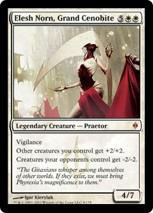 Elesh Norn, Grand Cenobite  VigilanceOther creatures you control get +2/+2.Creatures your opponents control get -2/-2.