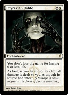 Phyrexian Unlife  You don't lose the game for having 0 or less life.As long as you have 0 or less life, all damage is dealt to you as though its source had infect. (Damage is dealt to you in the form of poison counters.)