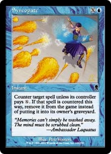 Syncopate  Counter target spell unless its controller pays . If that spell is countered this way, exile it instead of putting it into its owner's graveyard.
