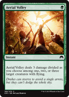 Aerial Volley  Aerial Volley deals 3 damage divided as you choose among one, two, or three target creatures with flying.