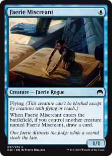 Faerie Miscreant  Flying (This creature can't be blocked except by creatures with flying or reach.)When Faerie Miscreant enters the battlefield, if you control another creature named Faerie Miscreant, draw a card.