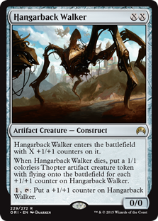 Hangarback Walker  Hangarback Walker enters the battlefield with X +1/+1 counters on it.When Hangarback Walker dies, create a 1/1 colorless Thopter artifact creature token with flying for each +1/+1 counter on Hangarback Walker., : Put a +1/+1 counter on Hangarback Walker.