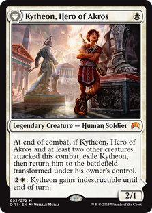 Kytheon, Hero of Akros  At end of combat, if Kytheon, Hero of Akros and at least two other creatures attacked this combat, exile Kytheon, then return him to the battlefield transformed under his owner's control.: Kytheon gains indestructible until end of turn.