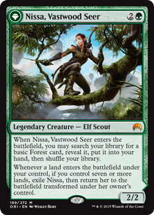 Nissa, Vastwood Seer  When Nissa, Vastwood Seer enters the battlefield, you may search your library for a basic Forest card, reveal it, put it into your hand, then shuffle your library.Whenever a land enters the battlefield under your control, if you control seven or more land