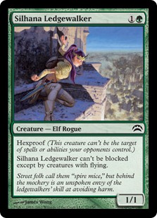 Silhana Ledgewalker  Hexproof (This creature can't be the target of spells or abilities your opponents control.)Silhana Ledgewalker can't be blocked except by creatures with flying.