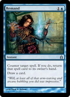 Remand  Counter target spell. If that spell is countered this way, put it into its owner's hand instead of into that player's graveyard.Draw a card.