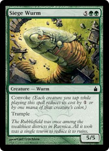 Siege Wurm  Convoke (Your creatures can help cast this spell. Each creature you tap while casting this spell pays for  or one mana of that creature's color.)Trample