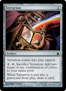 Terrarion  Terrarion enters the battlefield tapped., , Sacrifice Terrarion: Add two mana in any combination of colors.When Terrarion is put into a graveyard from the battlefield, draw a card.