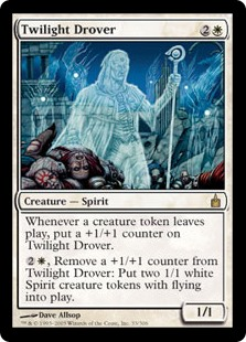 Twilight Drover  Whenever a creature token leaves the battlefield, put a +1/+1 counter on Twilight Drover., Remove a +1/+1 counter from Twilight Drover: Create two 1/1 white Spirit creature tokens with flying.