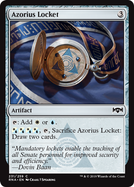 Azorius Locket  : Add  or ., , Sacrifice Azorius Locket: Draw two cards.