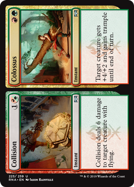 Collision/Colossus  Collision deals 6 damage to target creature with flying.