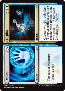 Depose/Deploy  Create two 1/1 colorless Thopter artifact creature tokens with flying, then you gain 1 life for each creature you control.