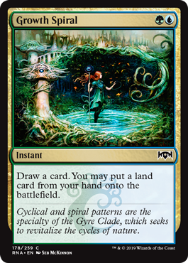 Growth Spiral  Draw a card. You may put a land card from your hand onto the battlefield.