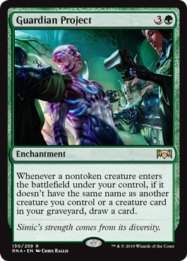 Guardian Project  Whenever a nontoken creature enters the battlefield under your control, if it doesn't have the same name as another creature you control or a creature card in your graveyard, draw a card.