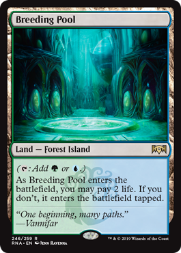Breeding Pool  (: Add  or .)As Breeding Pool enters the battlefield, you may pay 2 life. If you don't, it enters the battlefield tapped.