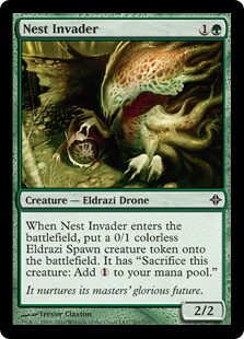 "Nest Invader  When Nest Invader enters the battlefield, create a 0/1 colorless Eldrazi Spawn creature token. It has ""Sacrifice this creature: Add ."""