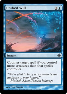Unified Will  Counter target spell if you control more creatures than that spell's controller.