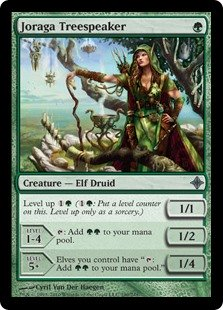 "Joraga Treespeaker  Level up  (: Put a level counter on this. Level up only as a sorcery.)LEVEL 1-41/2: Add .LEVEL 5+1/4Elves you control have "": Add ."""