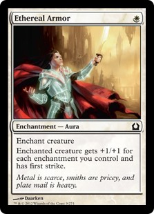 Ethereal Armor  Enchant creatureEnchanted creature gets +1/+1 for each enchantment you control and has first strike.