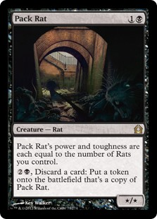 Pack Rat  Pack Rat's power and toughness are each equal to the number of Rats you control., Discard a card: Create a token that's a copy of Pack Rat.