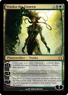 "Vraska the Unseen  +1: Until your next turn, whenever a creature deals combat damage to Vraska the Unseen, destroy that creature.?3: Destroy target nonland permanent.?7: Create three 1/1 black Assassin creature tokens with ""Whenever this creature deals combat damage to a pl"