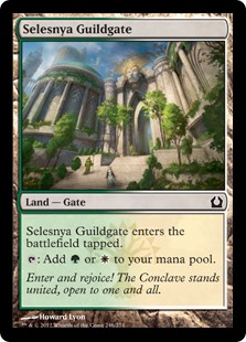Selesnya Guildgate  Selesnya Guildgate enters the battlefield tapped.: Add  or .