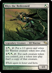 Rhys the Redeemed  , : Create a 1/1 green and white Elf Warrior creature token., : For each creature token you control, create a token that's a copy of that creature.