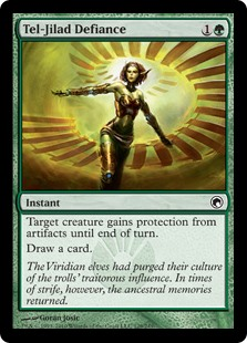 Tel-Jilad Defiance  Target creature gains protection from artifacts until end of turn.Draw a card.