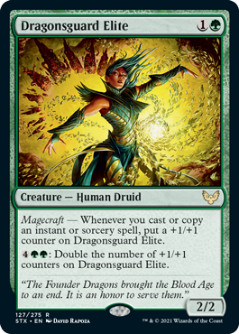 Dragonsguard Elite  Magecraft — Whenever you cast or copy an instant or sorcery spell, put a +1/+1 counter on Dragonsguard Elite.: Double the number of +1/+1 counters on Dragonsguard Elite.