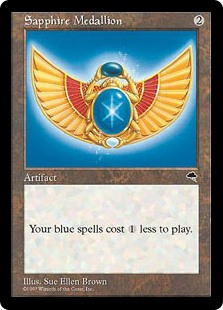 Sapphire Medallion  Blue spells you cast cost  less to cast.