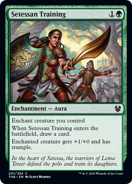 Setessan Training  Enchant creature you controlWhen Setessan Training enters the battlefield, draw a card.Enchanted creature gets +1/+0 and has trample.