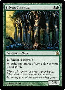 Sylvan Caryatid  Defender, hexproof: Add one mana of any color.