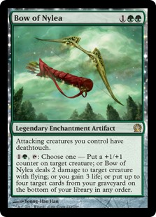 Bow of Nylea  Attacking creatures you control have deathtouch., : Choose one —• Put a +1/+1 counter on target creature.• Bow of Nylea deals 2 damage to target creature with flying.• You gain 3 life.• Put up to four target cards from your graveyard on the bottom of your