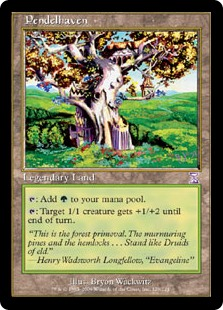 Pendelhaven  : Add .: Target 1/1 creature gets +1/+2 until end of turn.