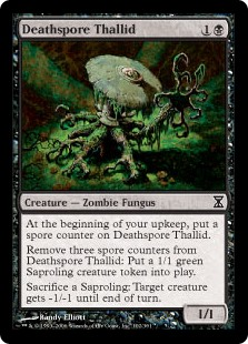Deathspore Thallid  At the beginning of your upkeep, put a spore counter on Deathspore Thallid.Remove three spore counters from Deathspore Thallid: Create a 1/1 green Saproling creature token.Sacrifice a Saproling: Target creature gets -1/-1 until end of turn.