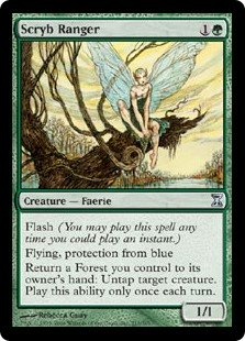 Scryb Ranger  Flash (You may cast this spell any time you could cast an instant.)Flying, protection from blueReturn a Forest you control to its owner's hand: Untap target creature. Activate this ability only once each turn.