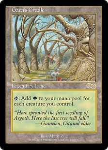 Gaea's Cradle  : Add  for each creature you control.