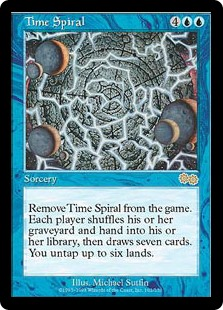 Time Spiral  Exile Time Spiral. Each player shuffles their graveyard and hand into their library, then draws seven cards. You untap up to six lands.