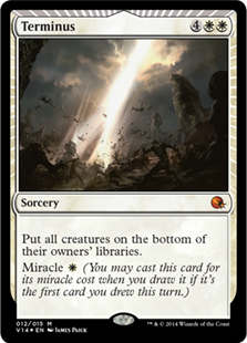 Terminus  Put all creatures on the bottom of their owners' libraries.Miracle  (You may cast this card for its miracle cost when you draw it if it's the first card you drew this turn.)