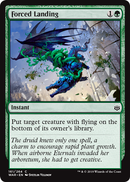 Forced Landing  Put target creature with flying on the bottom of its owner's library.