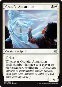 Grateful Apparition  FlyingWhenever Grateful Apparition deals combat damage to a player or planeswalker, proliferate. (Choose any number of permanents and/or players, then give each another counter of each kind already there.)