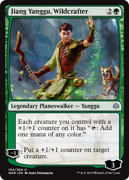 "Jiang Yanggu, Wildcrafter  Each creature you control with a +1/+1 counter on it has "": Add one mana of any color.""?1: Put a +1/+1 counter on target creature."