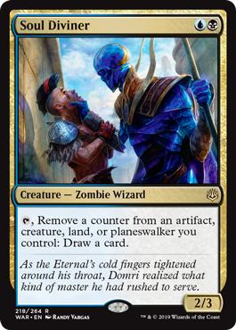 Soul Diviner  , Remove a counter from an artifact, creature, land, or planeswalker you control: Draw a card.