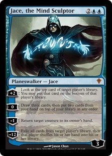 Jace, the Mind Sculptor  +2: Look at the top card of target player's library. You may put that card on the bottom of that player's library.0: Draw three cards, then put two cards from your hand on top of your library in any order.?1: Return target creature to its owner's hand.?12